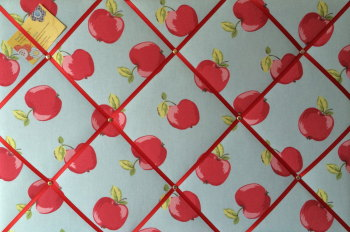 Large 60X40cm Clarke & Clarke Apple / Apples Hand Crafted Fabric Notice / Memory / Pin / Memo Board