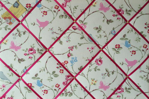 Large 60x40cm Clarke & Clarke White Bird Trail Pink Ribbon Hand Crafted Fab