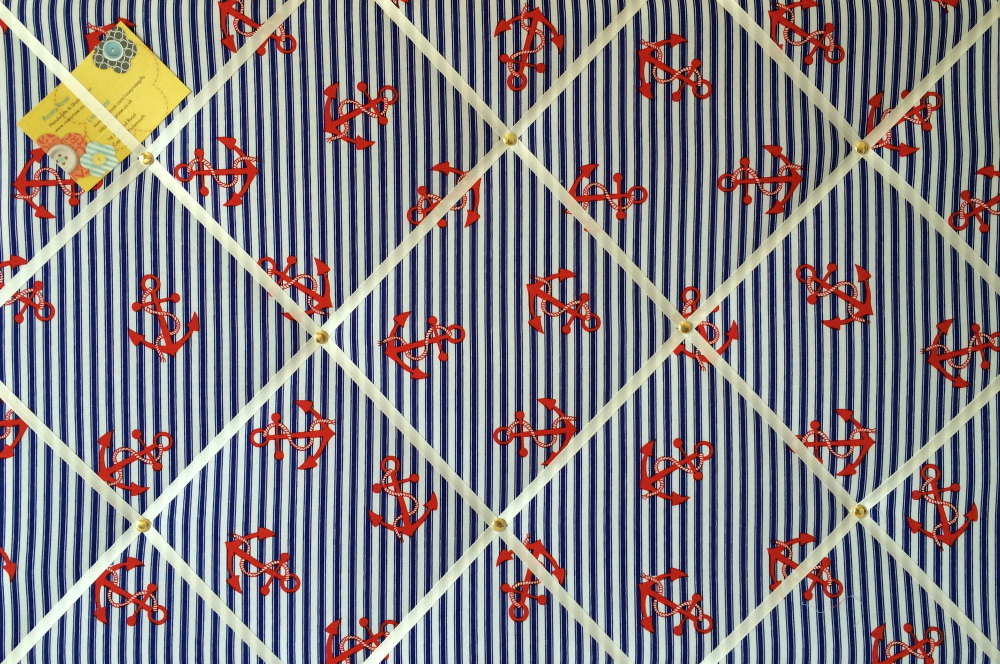 Large 60x40cm Nautical Blue & White Stripe with Red Anchor Hand Crafted Fab
