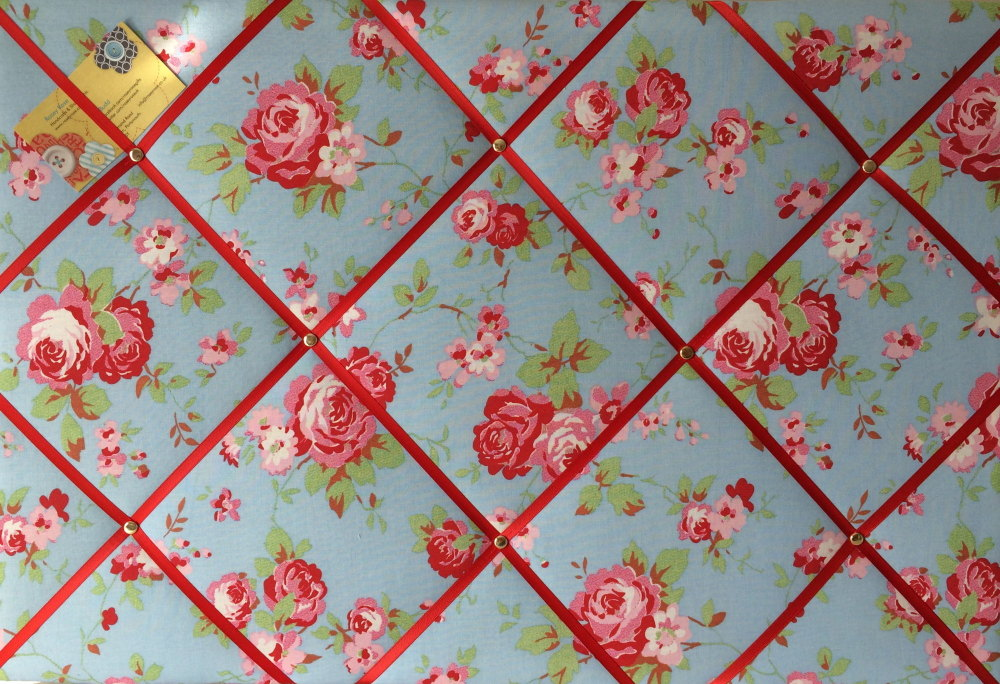 Large Cath Kidston / IKEA Blue Rosali Rose Hand Crafted Fabric Notice / Pin