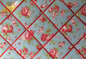 Large 60x40cm Cath Kidston / IKEA Blue Rosali Rose Hand Crafted Fabric Notice / Pin / Memo / Memory Board