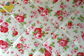 Large 60x40cm Cath Kidston / IKEA White Rosali Rose Hand Crafted Fabric Notice / Pin / Memo / Memory Board