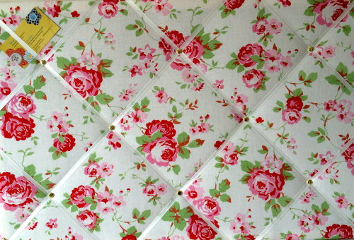 Large 60x40cm Cath Kidston / IKEA White Rosali Rose Hand Crafted Fabric Not