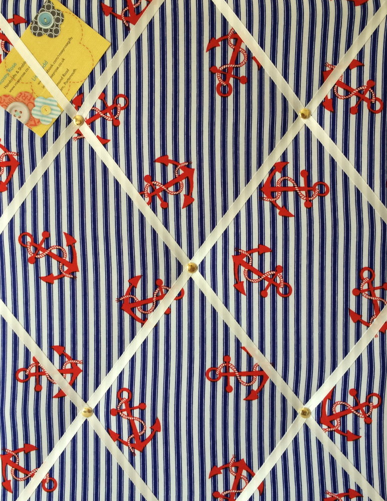 Medium 40x30cm Nautical Blue & White Stripe with Red Anchor Crafted Fabric