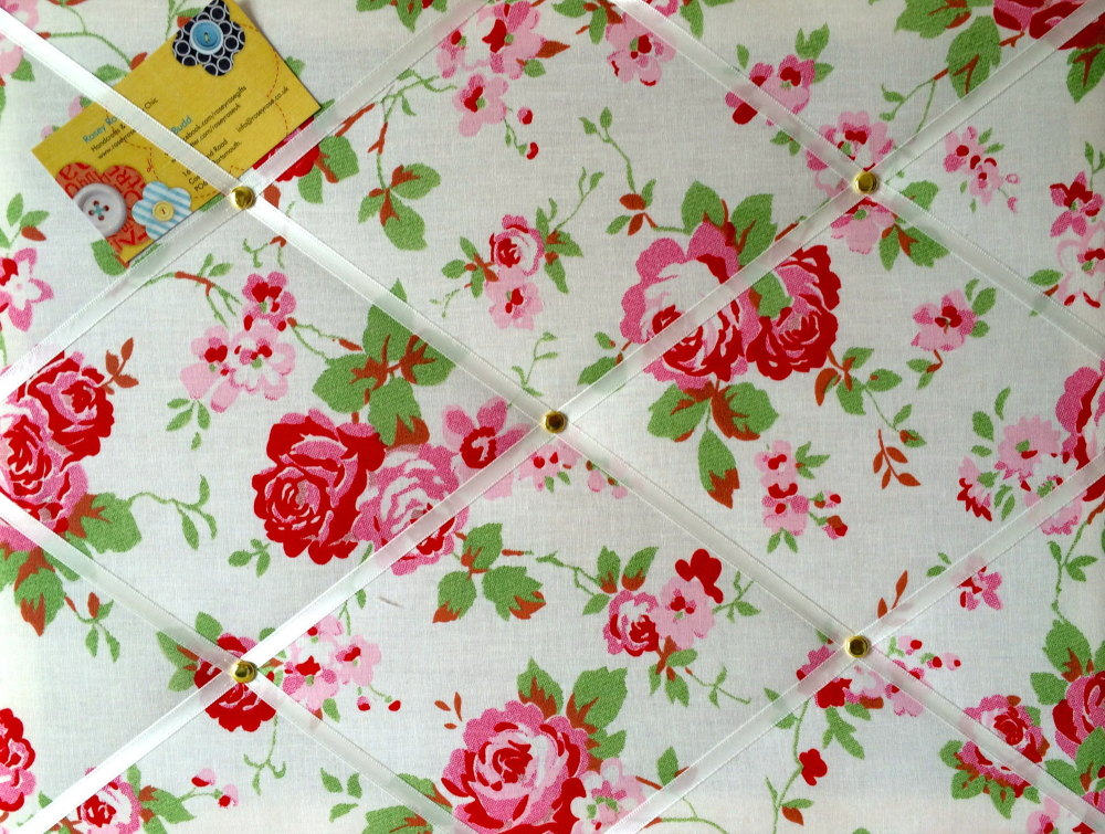 Medium 40x30cm Cath Kidston / IKEA White Rosali Rose Hand Crafted Fabric No