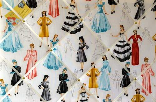 Large 60x40cm Robert Kaufman 1950s Glamour Girls Hand Crafted Fabric Memory