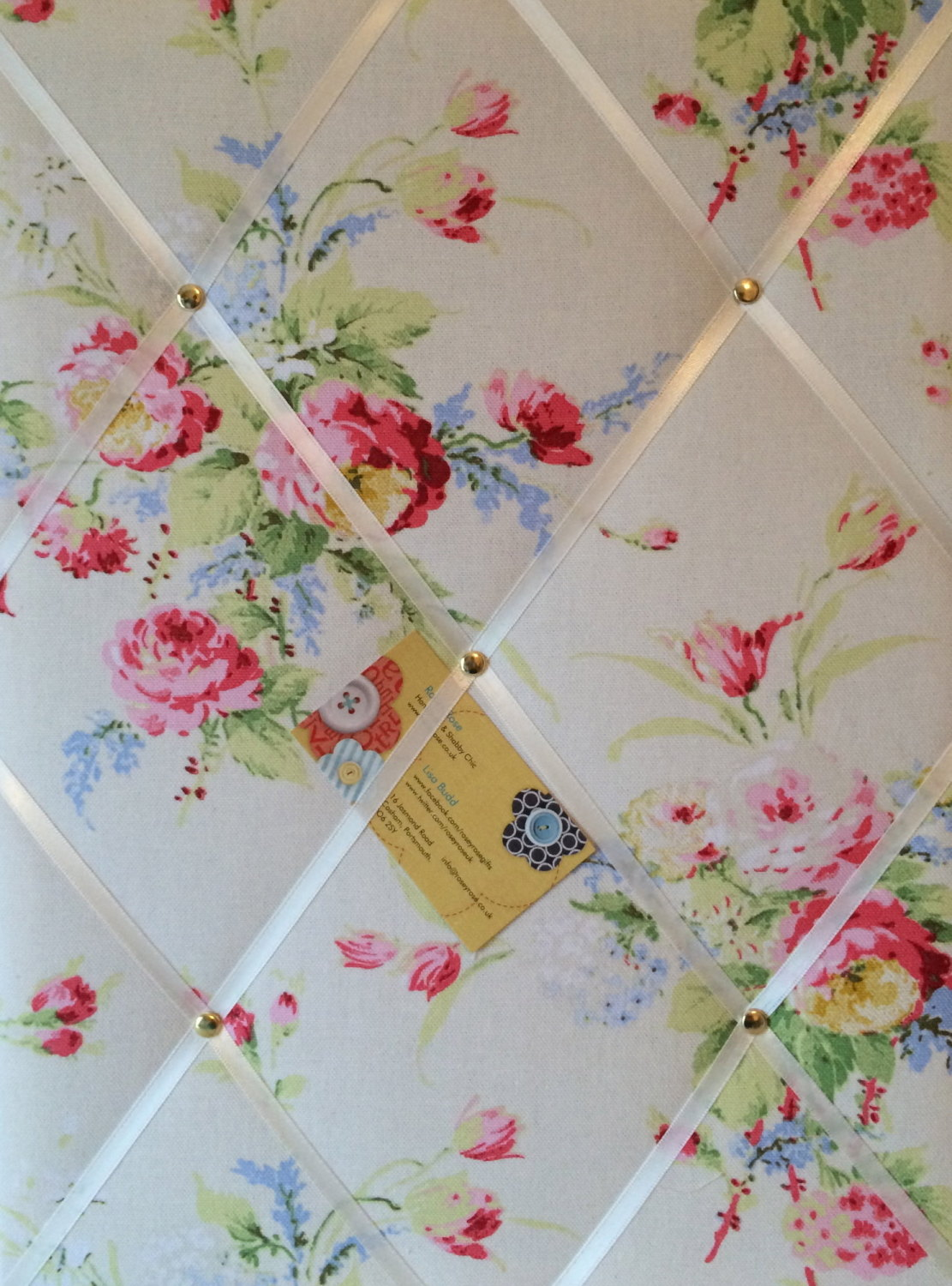 Medium 40x30cm Cath Kidston White Faded Flowers Hand Crafted Fabric Notice