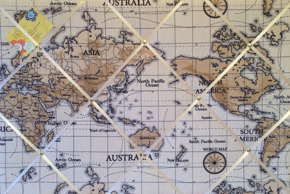 Large 60x40cm Fryetts Atlas Map Vintage Nautical Hand Crafted Fabric Memory