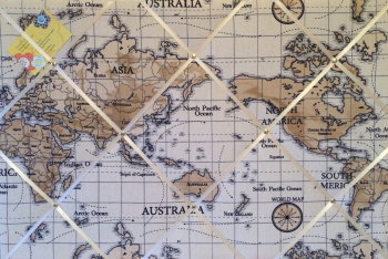 Large 60x40cm Fryetts Atlas World Map Vintage Nautical Hand Crafted Fabric Memory / Notice / Pin / Memo Board