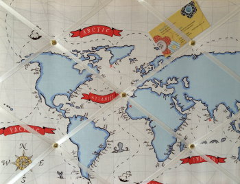 Medium 40x30cm Michael Miller Out to Sea Nautical Map Hand Crafted Fabric Notice / Pin / Memo / Memory Board
