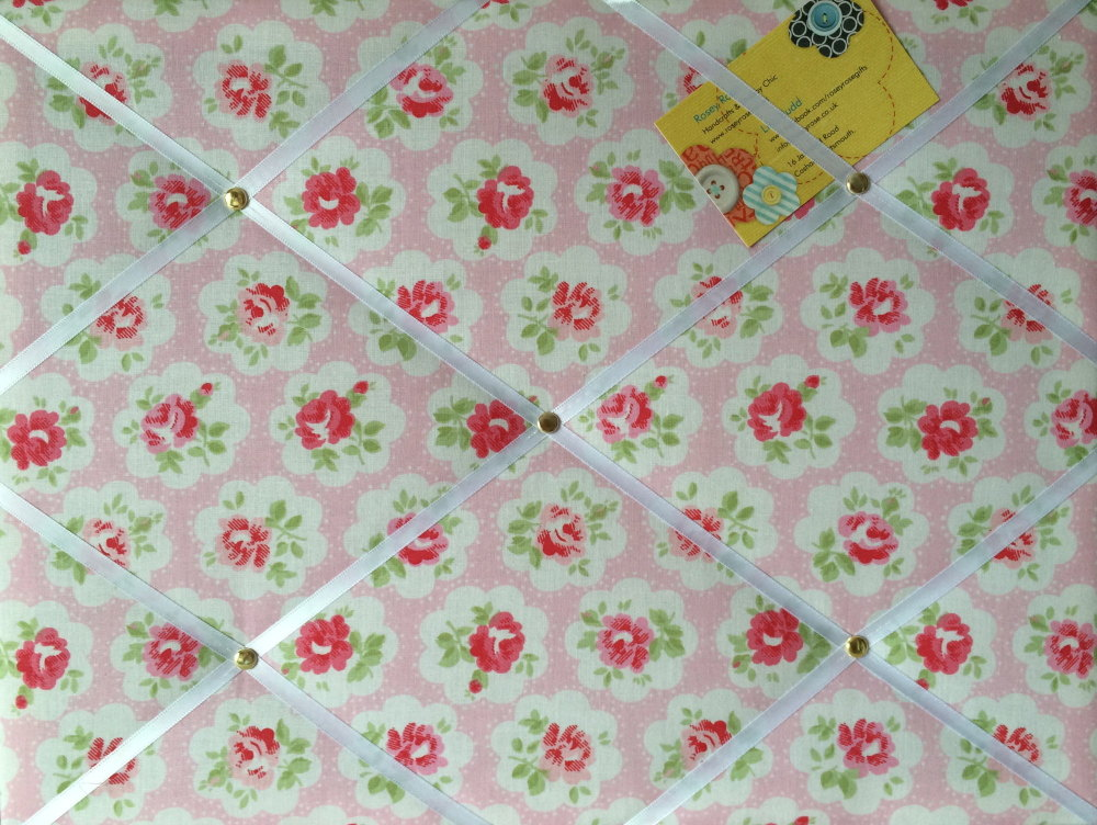 Medium 40x30cm Cath Kidston Pink Provence Rose Hand Crafted Fabric Notice /