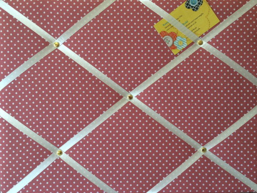 Medium 40x30cm Dark Pink Polka Dot / Spot Hand Crafted Fabric Notice / Memo