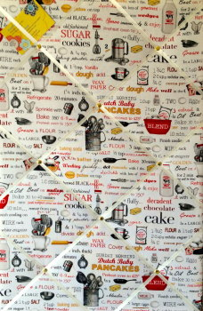 Large 60x40cm Vertical Robert Kaufman Kiss the Cook Recipe Ingredients Hand Crafted Fabric Memory / Notice / Pin / Memo / Memory Board