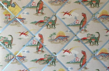 Large 60x40cm Cath Kidston Stone Dinosaur Hand Crafted Fabric Notice / Pin / Memo / Memory Board
