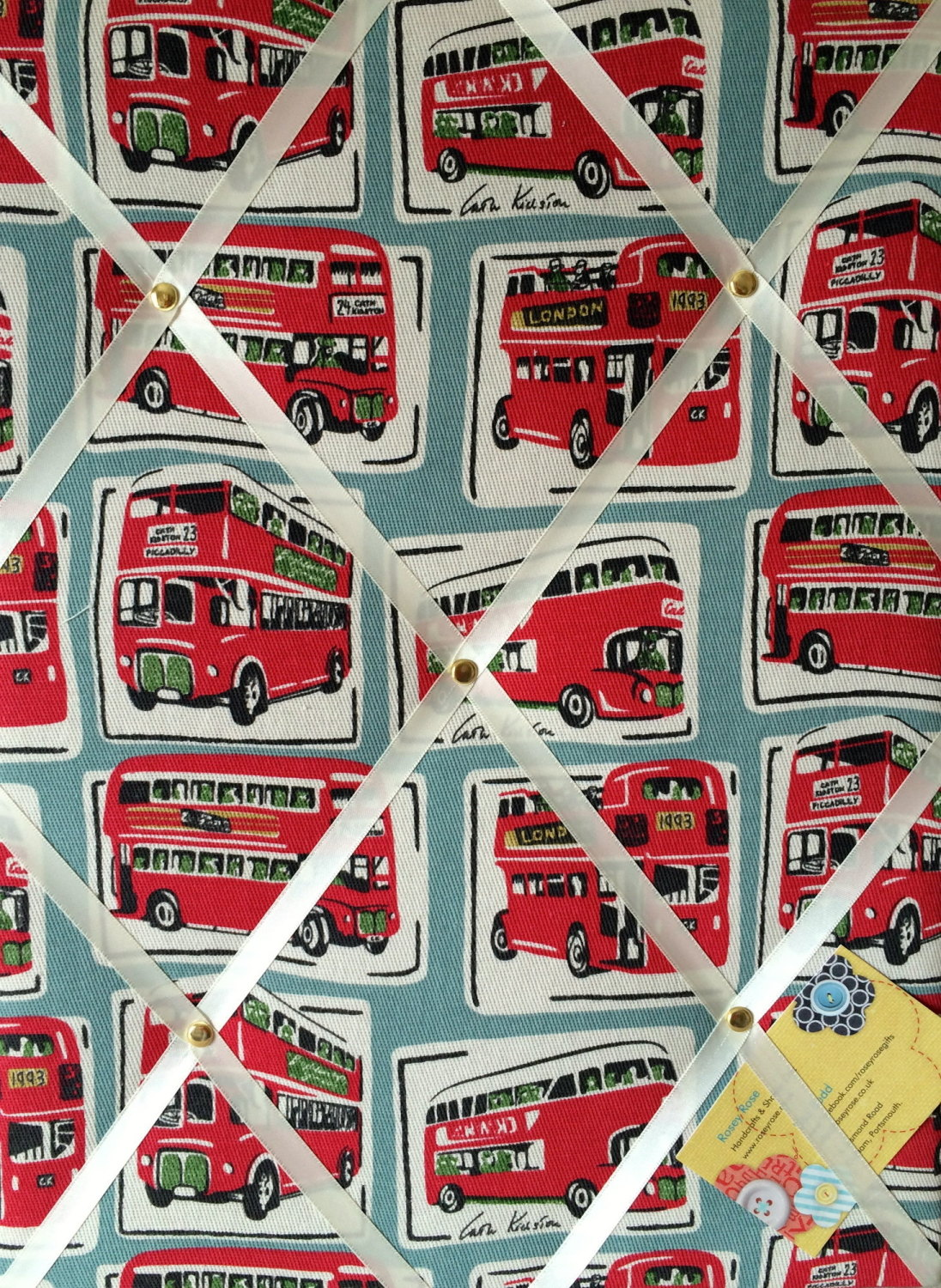 Medium 40x30cm Cath Kidston London Buses Hand Crafted Fabric Notice / Pin /