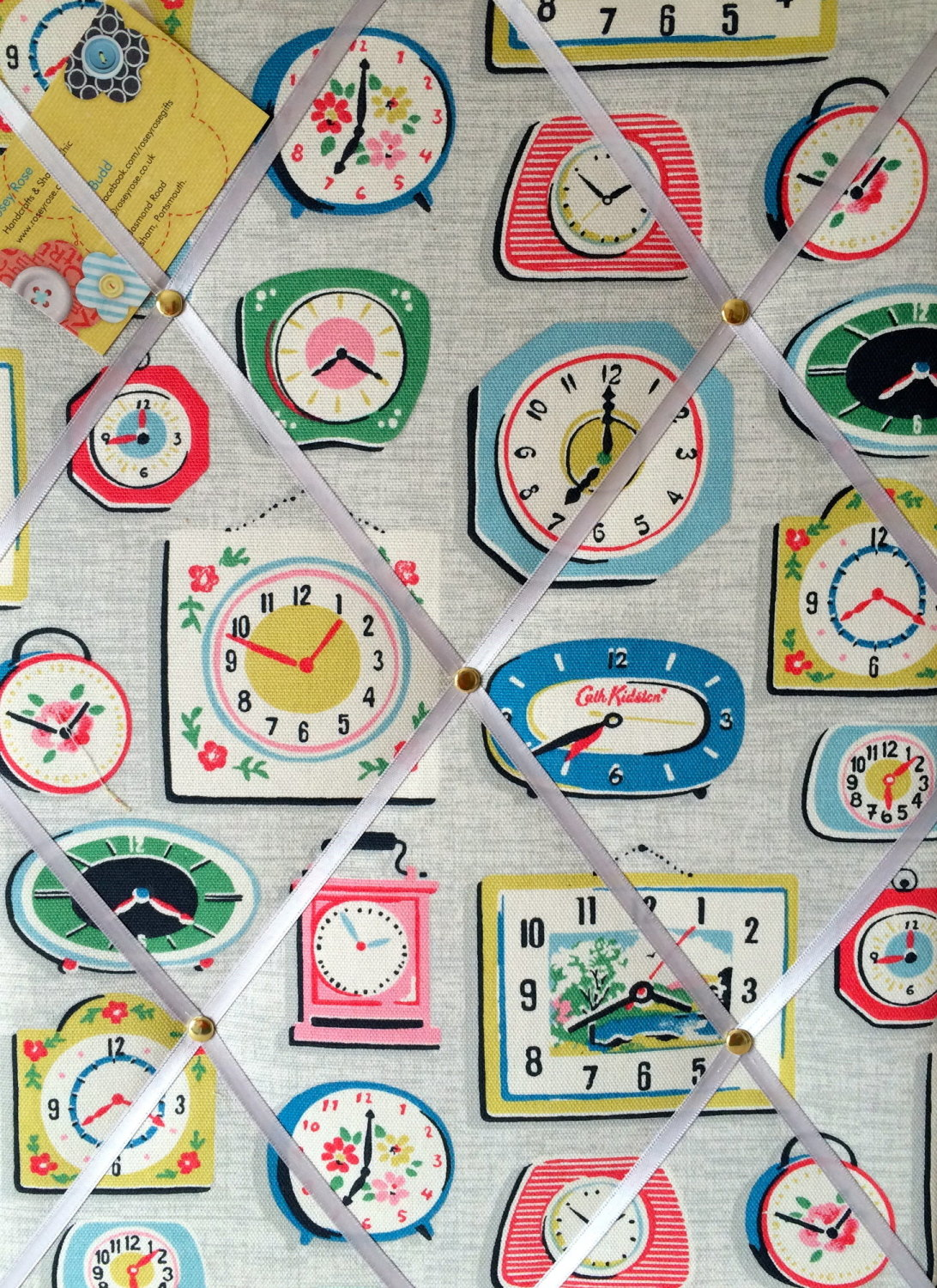 Medium 40x30cm Cath Kidston Clocks Grey Hand Crafted Fabric Notice / Pin /