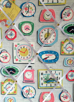 Medium 40x30cm Cath Kidston Clocks Grey Hand Crafted Fabric Notice / Pin / Memo / Memory Board