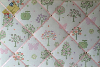 Large 60x40cm Laura Ashley Esme Apple Butterfly Hand Crafted Fabric Notice / Pin / Memo / Memory Board