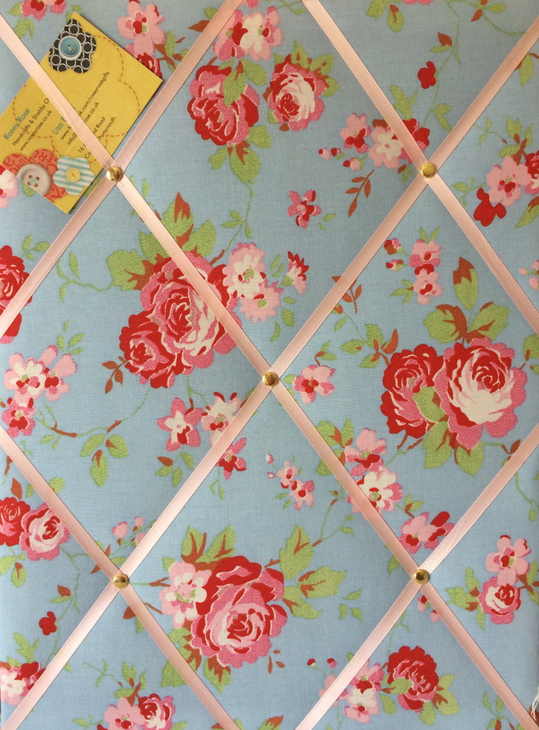 Medium 40x30cm Cath Kidston / IKEA Blue Rosali Rose Hand Crafted Fabric Not