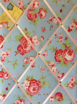 Medium 40x30cm Cath Kidston / IKEA Blue Rosali Rose Hand Crafted Fabric Notice / Pin / Memo / Memory Board