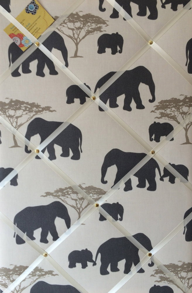 Large 60x40cm Vertical Marson Elephants Grey Hand Crafted Fabric Notice / P
