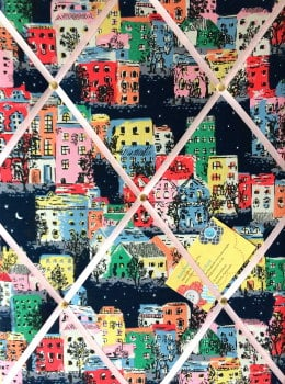 Medium 40x30cm Cath Kidston Townhouses Hand Crafted Fabric Notice / Pin / Memo / Memory Board