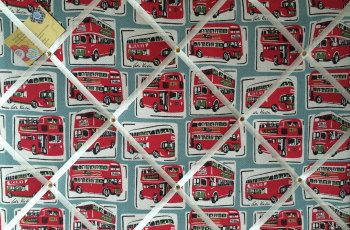 Large 60x40cm Cath Kidston London Buses Hand Crafted Fabric Notice / Pin / Memo / Memory Board