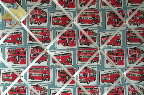 Large 60x40cm Cath Kidston London Buses Hand Crafted Fabric Notice / Pin /