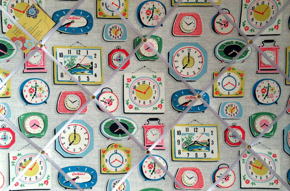 Large 60x40cm Cath Kidston Clocks Grey Hand Crafted Fabric Notice / Pin / M
