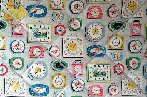 Large 60x40cm Cath Kidston Clocks Grey Hand Crafted Fabric Notice / Pin / M