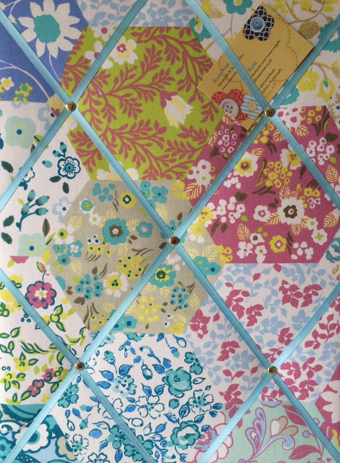 Medium 40x30cm Prestigious Picnic Patchwork Rose Hand Crafted Fabric Notice