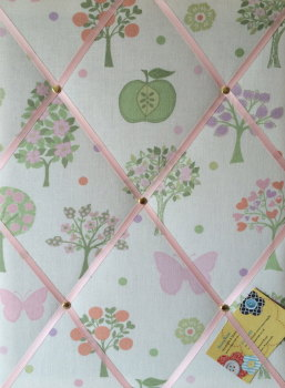 Medium 40x30cm Laura Ashley Esme Apple Butterfly Hand Crafted Fabric Notice / Pin / Memo / Memory Board