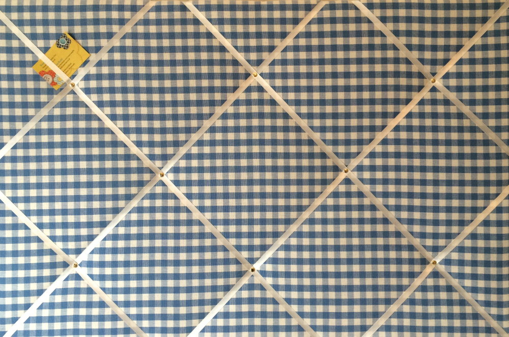 Extra Large 90x60cm Laura Ashley Blue Gingham Hand Crafted Fabric Notice /