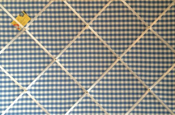 Extra Large 90x60cm Laura Ashley Blue Gingham Hand Crafted Fabric Notice / Pin / Memo / Memory Board