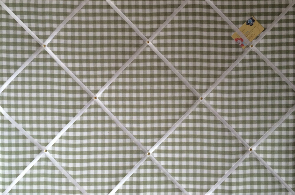 Extra Large 90x60cm Laura Ashley Green Gingham Hand Crafted Fabric Notice /