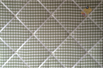 Extra Large 90x60cm Laura Ashley Green Gingham Hand Crafted Fabric Notice / Pin / Memo / Memory Board