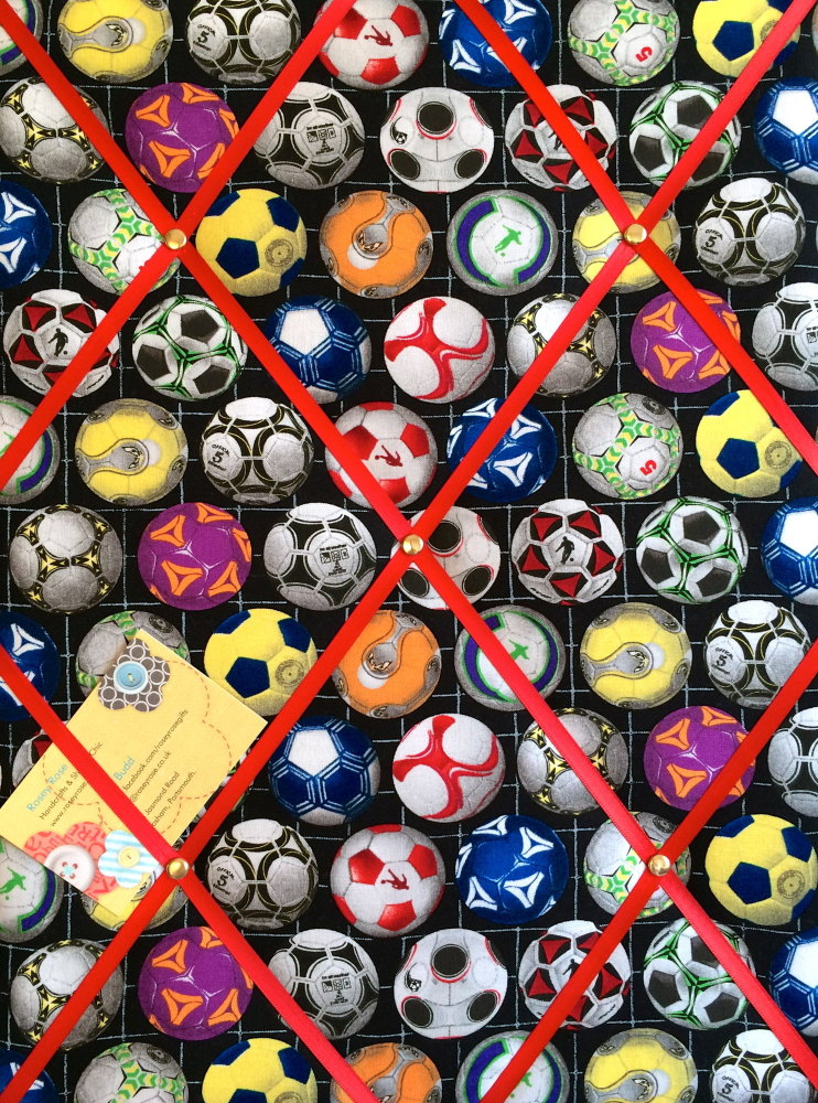 Medium 40x30cm Sports Life Football Soccer Hand Crafted Fabric Notice / Mem