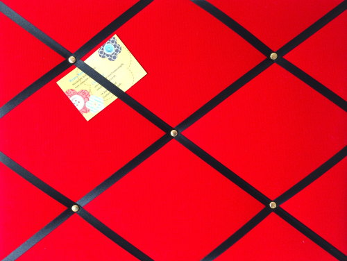 Medium 40x30cm Red Hand Crafted Fabric Notice / Pin / Memo / Memory Board w