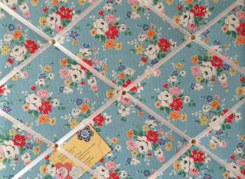 Medium 40x30cm Cath Kidston Blue Clifton Rose Hand Crafted Fabric Notice / Pin / Memo / Memory Board