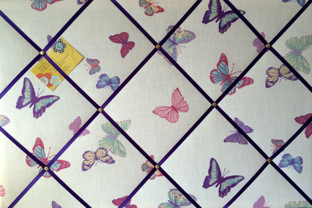 Large 60x40cm Laura Ashley Summer Meadow Butterfly Hand Crafted Fabric Noti
