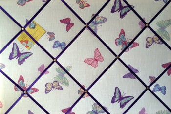Large 60x40cm Laura Ashley Summer Meadow Butterfly Hand Crafted Fabric Notice / Pin / Memo / Memory Board