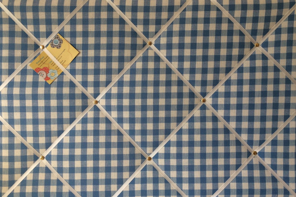 Large 60x40cm Laura Ashley Blue Gingham Hand Crafted Fabric Notice / Pin /