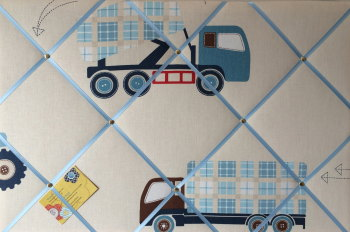 Large 60x40cm Laura Ashley Tractors & Trucks Hand Crafted Fabric Notice / Pin / Memo / Memory Board