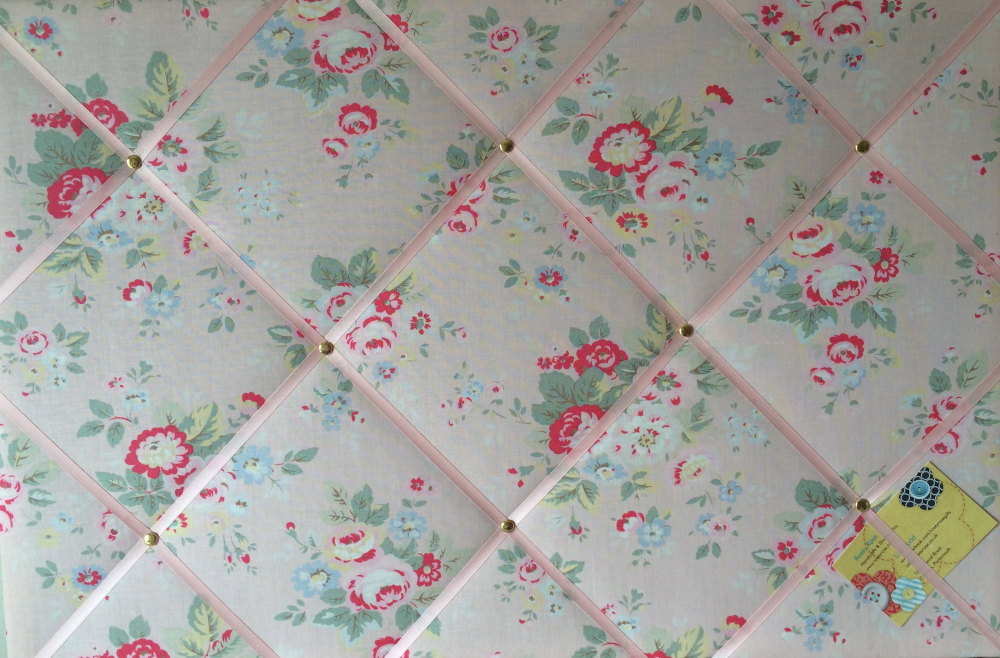 Large 60x40cm Cath Kidston Pink Trailing Floral Hand Crafted Fabric Notice