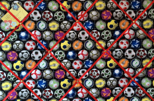 Large 60x40cm Sports Life Football Soccer Hand Crafted Fabric Memory / Noti