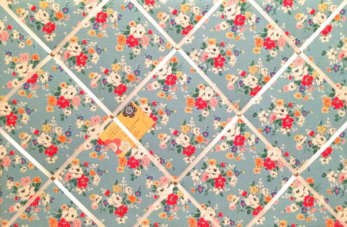 Large 60x40cm Cath Kidston Blue Clifton Rose Hand Crafted Fabric Notice / P