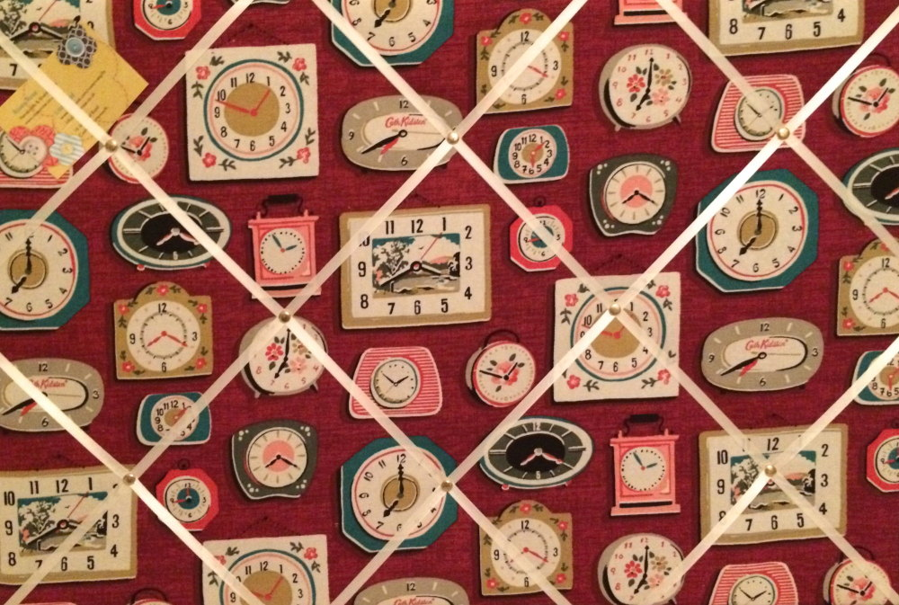 Large 60x40cm Cath Kidston Clocks Burgandy Red Hand Crafted Fabric Notice /