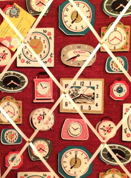 Medium 40x30cm Cath Kidston Clocks Burgundy Hand Crafted Fabric Notice / Pin / Memo / Memory Board