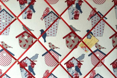Large 60x40cm Ashley Wilde Thornbury Seaside Blue Bird Hand Crafted Fabric