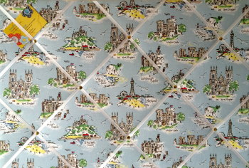 Large 60x40cm Cath Kidston Brittania Landmark Hand Crafted Fabric Notice / Pin / Memo / Memory Board